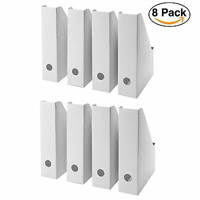 8Pack White Magazine Storage Holder File Organizer Documents Office Work Desktop