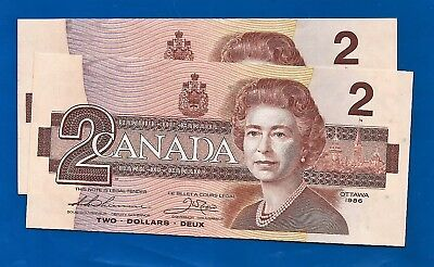 TWO 1986 CANADA Canadian CONSECUTIVE CBH 2 TWO DOLLAR BILLS NOTES UNC