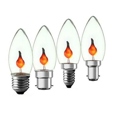 3W Flicker Flame Candle Light Bulb Halloween Candle Lamp SBC BC SES ES