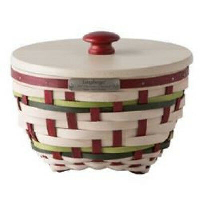 Longaberger 2017 Christmas Collection Holiday Snow Swirl Basket &lid Red & Green