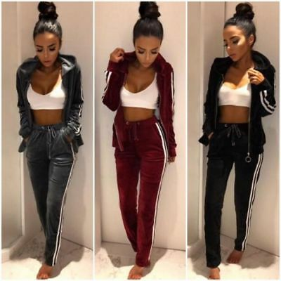 2PCS Womens Crushed Velvet Zip Up Sweatshirt Pant Ladies Lounge Wear Tracksuit