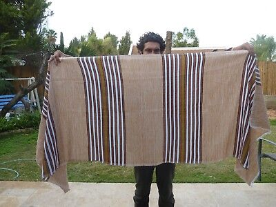 Ethiopian NETELA Shawl TALIT - Light Brown with brown stripes - L.Size : 235cm.