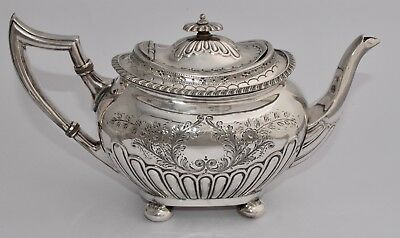 Antique Victorian George Wish Silver Plate Tea Pot - Half Fluted/Chased - EPBM