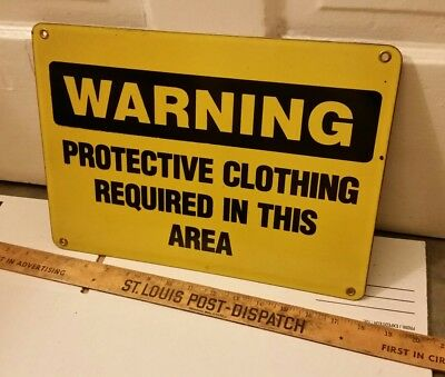 """Vintage METAL Vintage Workplace Sign Warning Protective Clothing  14""""×10"""" Yellow"""