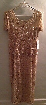 """Patra Steinay Gold Champagne Beaded Dress Gown 6"""" Mother of the Bride *NEW"""