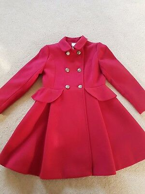 Girls beautiful red wool mix coat by Monsoon to fit age 9 - 10 years
