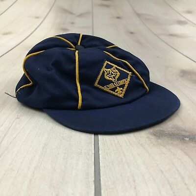 BSA Cub Scouts Blue Hat Cap Vintage - 6-7/8 - Blue Gold Embroidered Patch