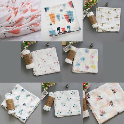 2 Layer Bamboo Fiber Swaddle Blankets Muslin Bamboo Cotton Baby Swaddle Wrap