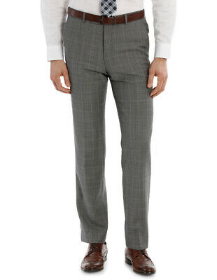 NEW TRENT NATHAN TN-152-21 WINDOWPANE CHECK SUIT TROUSER Grey