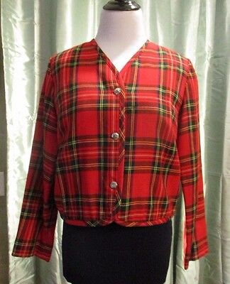VTG 1960s Red Green Scottish Tartan Plaid Jacket w/Bagpipe Buttons Piper Costume