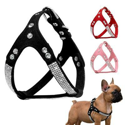Bling Rhinestone Suede Leather Dog Harness Vest for Small Medium Dogs Pet Puppy