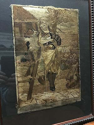 Antique Woven Silk Picture framed
