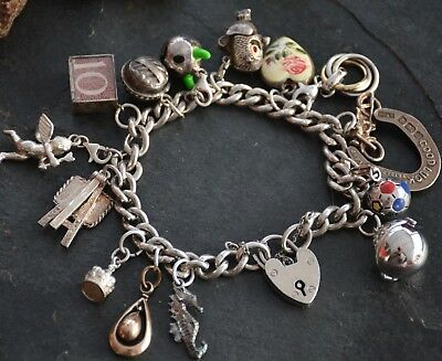"Nice Vintage 925 Sterling Solid Silver 8"" Bracelet with 15 Charms & Padlock"