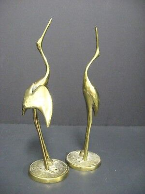 Pair of Egret Blue Heron Crane Solid Brass Bird Figurines Vintage Mid Century