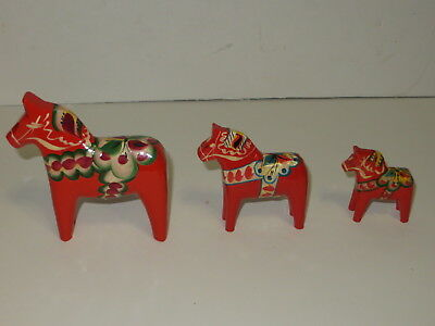* Lot Of 3 Nils Olsson Swedish Wooden Dala Horse Christmas Decorations *