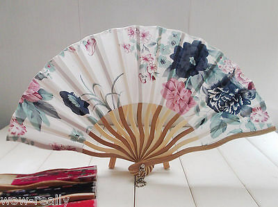 Cool Folding Portable Colorful Flower Printing Bamboo Silk Fabric Hand Fan Gift