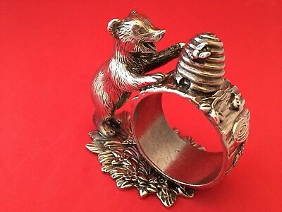 BEAR Napkin Ring Holder Silverplate The 1824 Collection by Reed and Barton