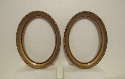 Vtg Carved Wood Frame Lot 2 pc Oval Picture Photo Painting Mirror Gold 5.25x7.25