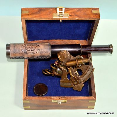Antique Brass Sextant Brass Telescope With Wooden Box Nautical Astrolabe Gift