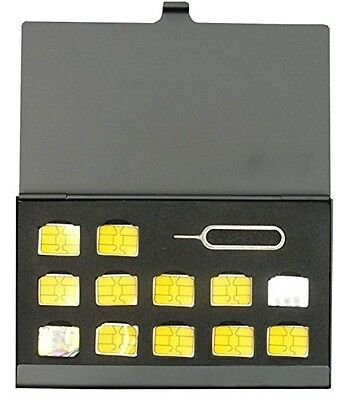 Slim Nano SIM Card Case Black - 12 Sim Cards Aluminum