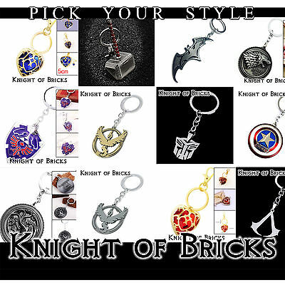 Zelda Breath Shield Heart Skyward Targaryen Batman Metal Keyring Key Chain