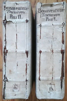 Bonaventura Opuscula Two Huge Incunable Volumes Husner 1495