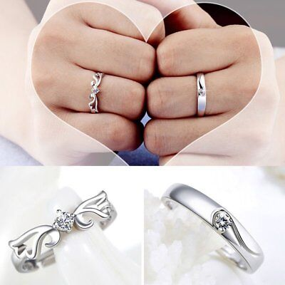 2Pcs Silver Lovers Crystal Couple Ring Her and His Promise Rings Set Adjustable