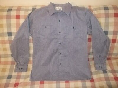Vtg SEAFARER BUTTON DOWN LONG SLEEVE CHAMBRAY WORK SHIRT M/L Looks Unworn