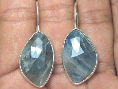 OJ-0031 Natural Blue Sapphire Cut Faceted Solid 925 Sterling Silver 34Ct Earring
