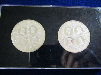 1977 Turks & Caicos Silver Proof 20 Crowns - 2 Coin Set- Free U S Shipping