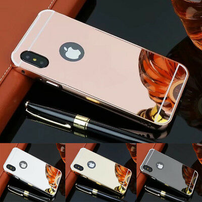 Plating Mirror Case Slim Aluminum Frame Hard Case Cover For iPhone X 8 8 PlUS