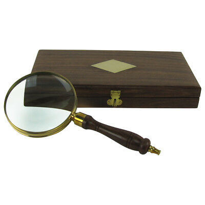 Antique Brass&Wood Turned Hand Lens Magnifying Glass w/ Desktop Box 5x Magnifier