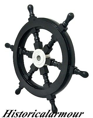"24"" Wood Ship Wheel Pirate Nautical Decor Home Office Boat Decoration gift item"