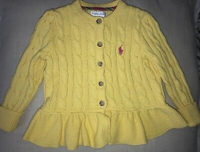 Baby Ralph Lauren Girl 12 Month Cable Knit Ruffle Sweater Yellow Holiday
