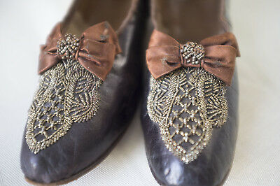 Pair antique/vintage steel bead embroidered brown shoes circa 1900