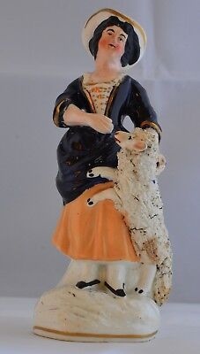 Victorian Staffordshire Pottery Lady With Lamb Figurine Bold Cobalt Old Vintage