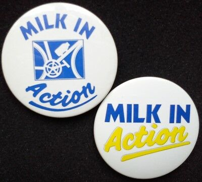 1980s MILK in Action Milk Race CYCLING Milk Marketing Board Button BADGES Bottle