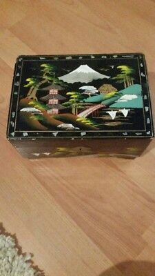 Oriental Mother Of Pearl Musical Vintage Jewellery Box