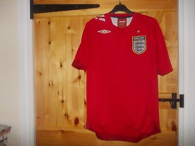 Red England Away Football Shirt By Umbro In Size Small - Seasons 2006/2008