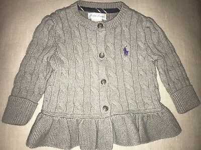 Baby Ralph Lauren Girl's Cable Knit Ruffle Holiday Sweater 9 Months Gray Grey