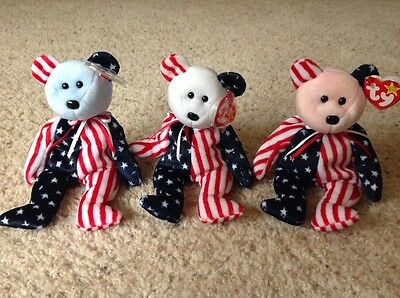 Original TY Beanie Babies - Spangle Pink Face, White Face and Blue Face, MWMT