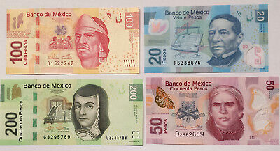 ***Lot of 4 Mexico Mexican 20,50,100&200 New Pesos Bills Paper Money Currency***