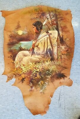 Vintage Indian Maiden with Papoos Oil  Painting on Leather