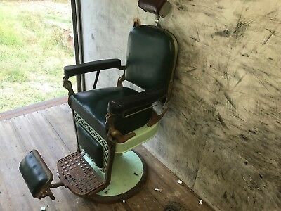 vintage barber chair emil j paidar HeadRest Tattoo Salon Working Antique Head