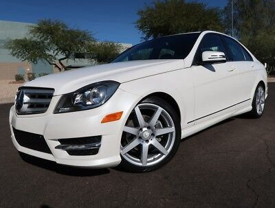 2013 Mercedes-Benz C-Class C250 Sport Sedan Navigation Sunroof AMG 18inch Whls Diamond White over Black 2012 2014 c250 sedan