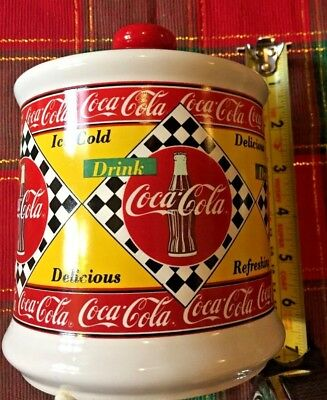 Rare! Vintage Coca Cola Canister Jar w/ Lid Collectible 1995 Diner Style Ceramic