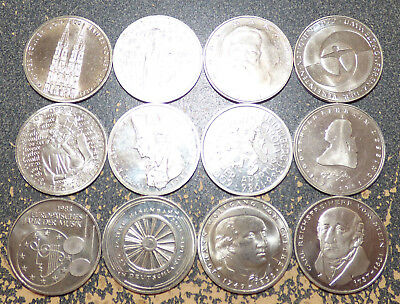 Germany 12 Different Commemorative 5 Mark Coins, Mostly XF, All Copper-Nickel
