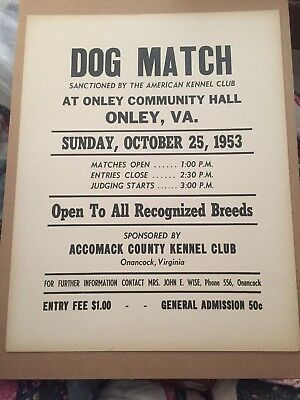 Advertising 1953 Dog Match Sanctioned By The American Kennel Club, Onley, Va.