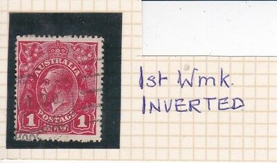 1914 KGV 1d RED INVERTED WMK  SHADE G10  USED