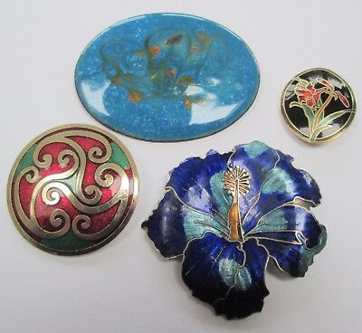 Large vintage gold metal & enamel flower design brooch + 3